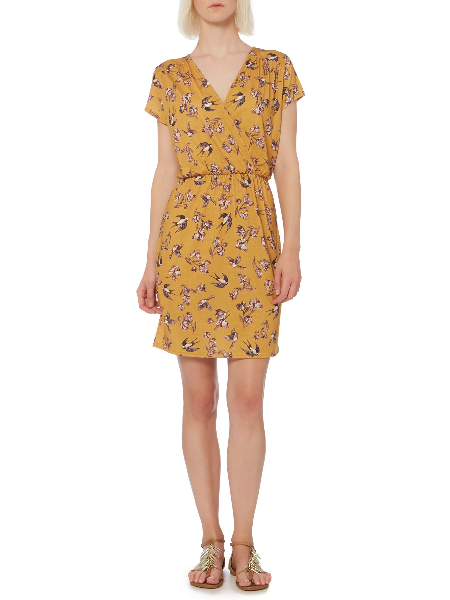 Bird print jersey wrap dress