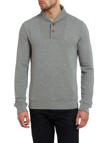 Shawl collar two button sweatshirt