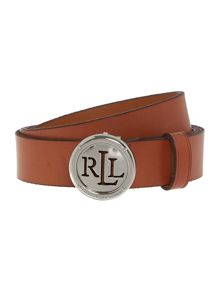 Signature logo plaque leather belt