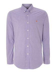 Long sleeve slim fit mini gingham shirt