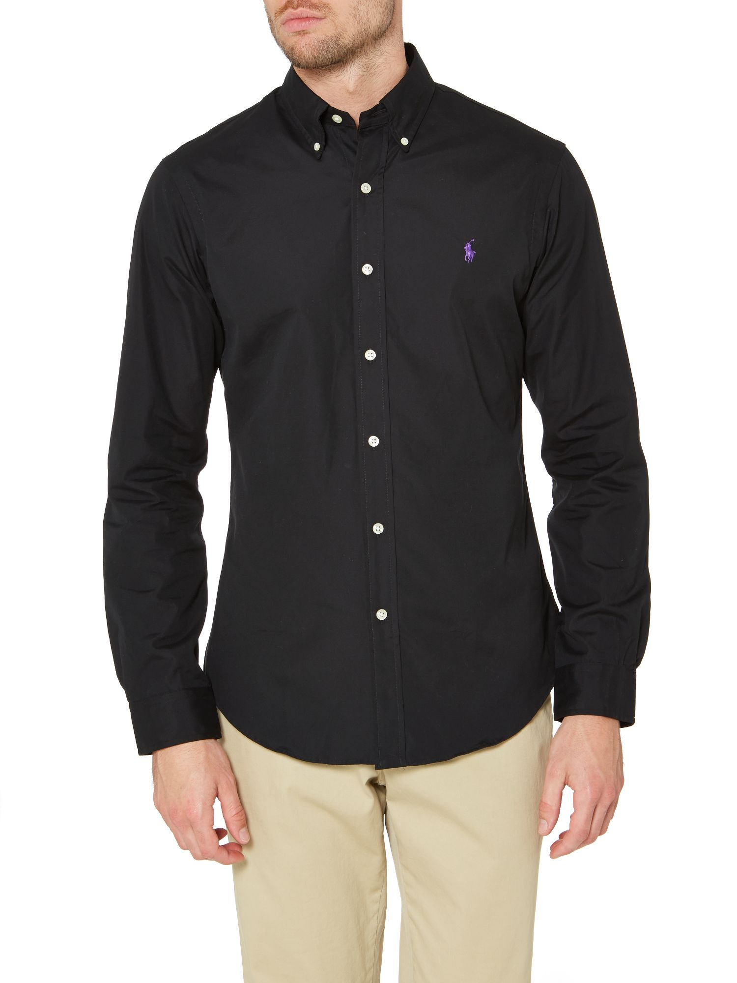 Long sleeve slim fit plain shirt