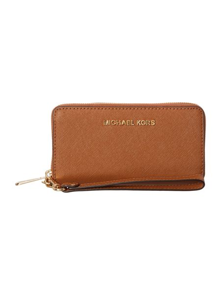 Michael Kors Tan large coin multi-functional phone case