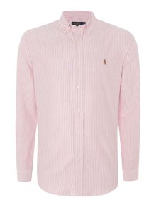 Long sleeve slim fit red stripe shirt