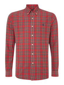 Long sleeve red check oxford shirt