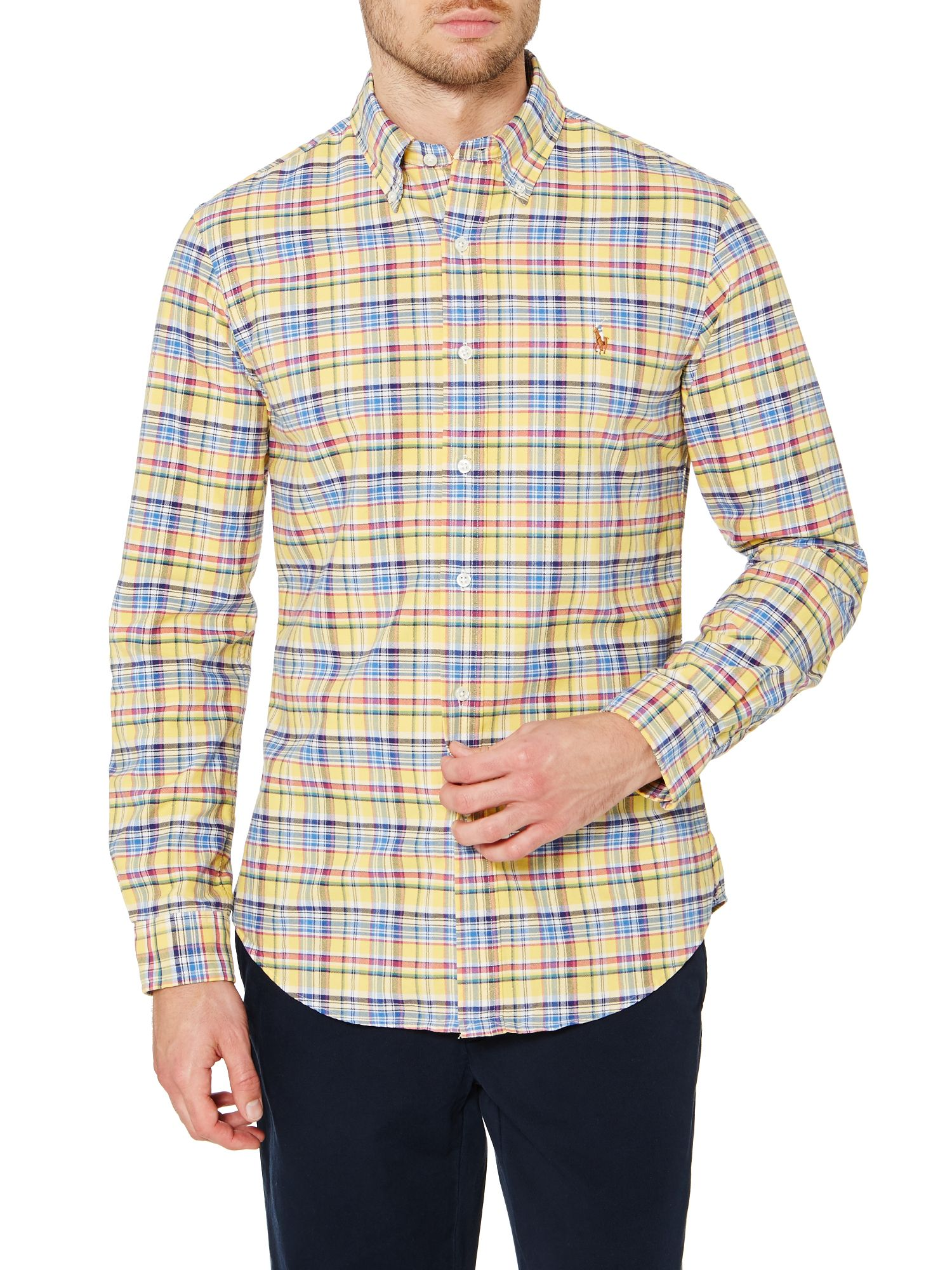 Long sleeve slim fit yellow check oxford shirt