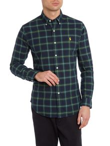 Long sleeve slim fit tartan check shirt