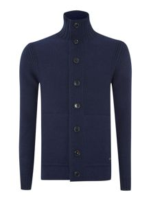 Full button two pocket funnel neck cardigan