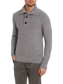 Funnel neck three quarter placket neck jumper