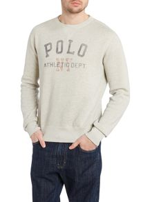 Crew neck sweatshirt with polo player