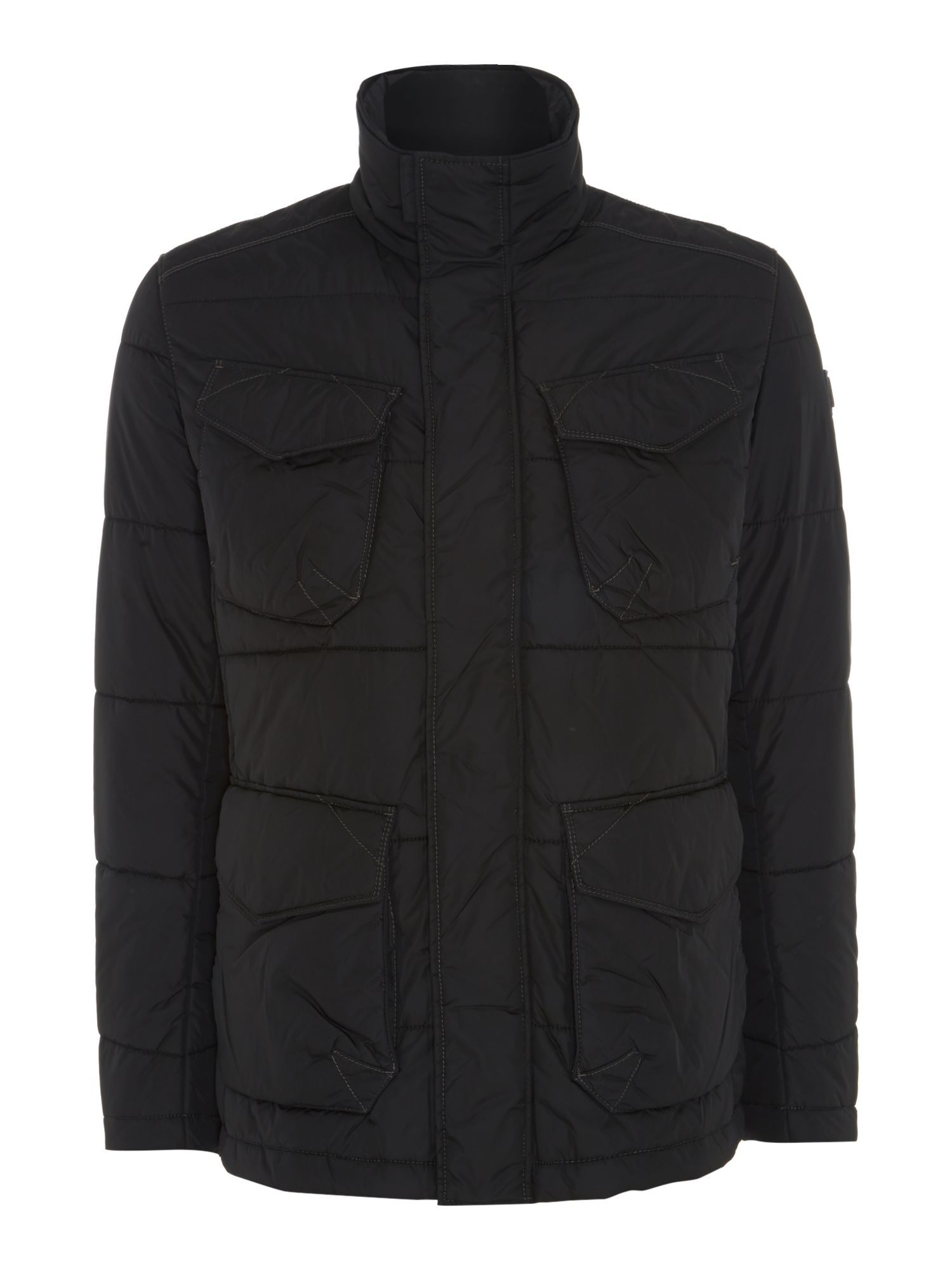 Mens Hugo Boss Funnel Neck Quilted Four Pocket Field Jacket Black
