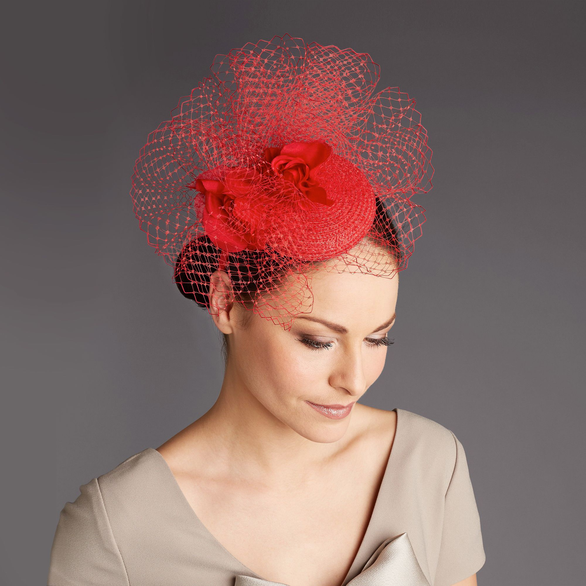 Rachel trevor-morgan red corsage headpie