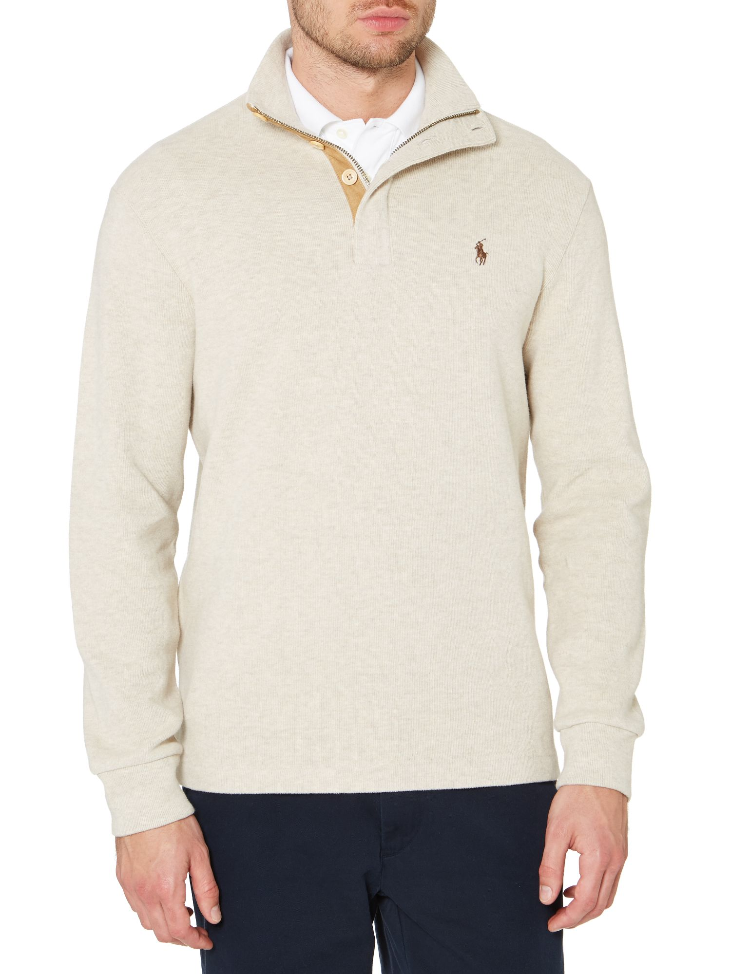 Mock half button sweatshirt