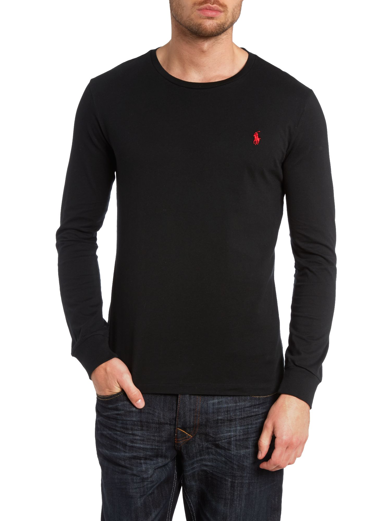 Crew neck combed jersey long sleeve tshirt