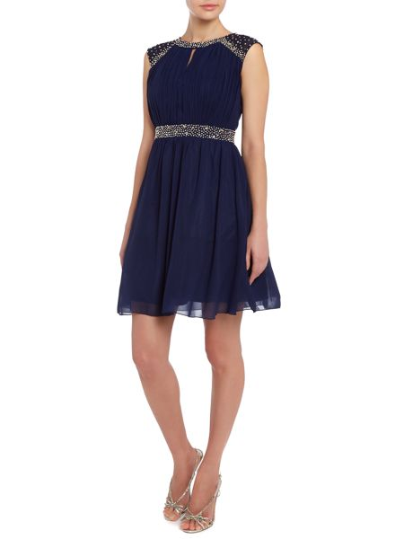 Little Mistress Sleeveless pleated top fit and flare dress