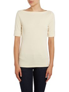 Benny 3/4 length sleeve boat neck knitted top