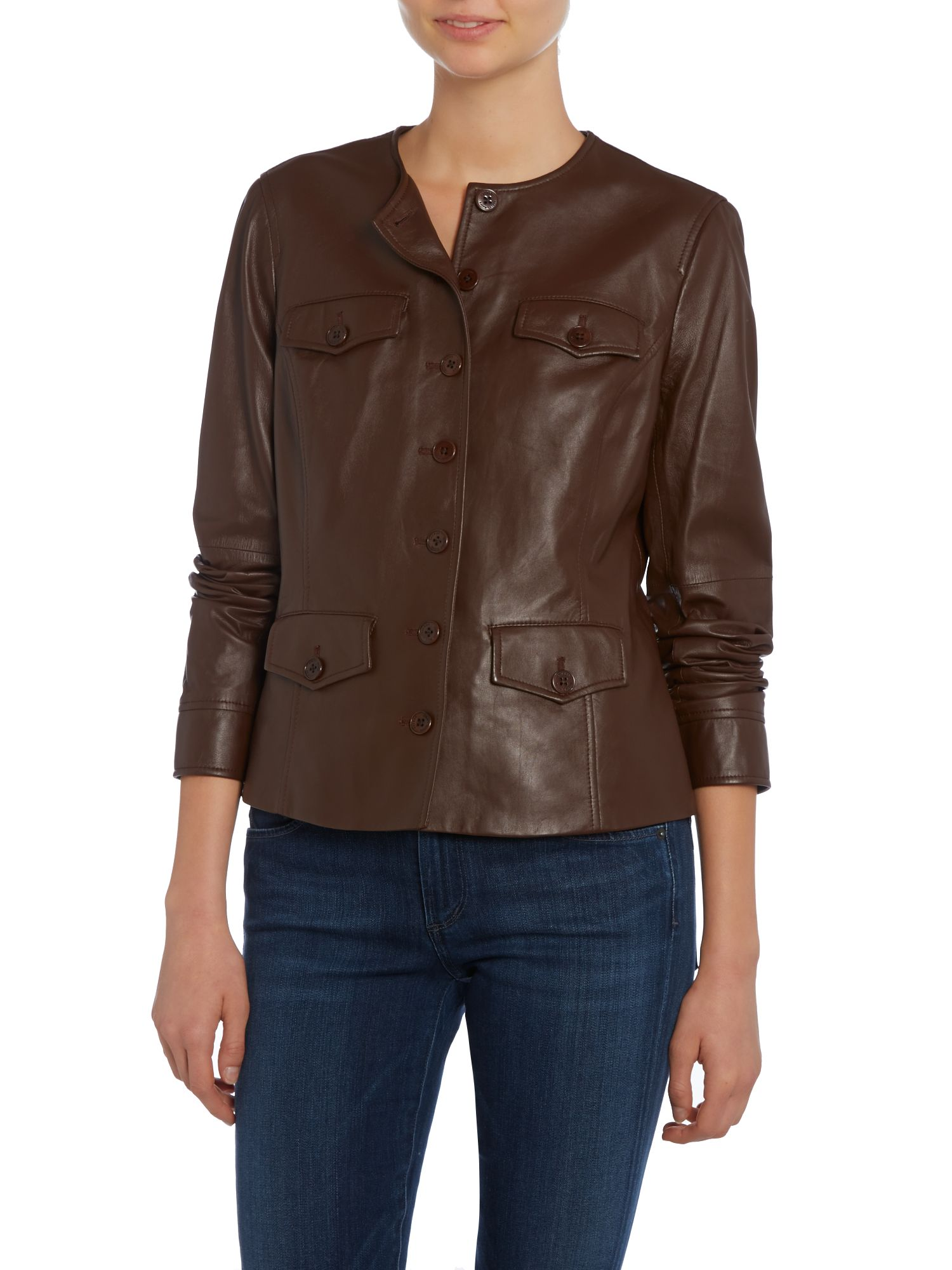 Leather jacket with pockets