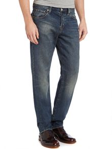 Standard regular straight dark wash jeans