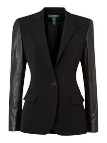 1 button wool jacket with leather sleeves