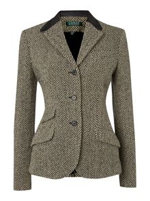 Hacking jacket wool with leather collar