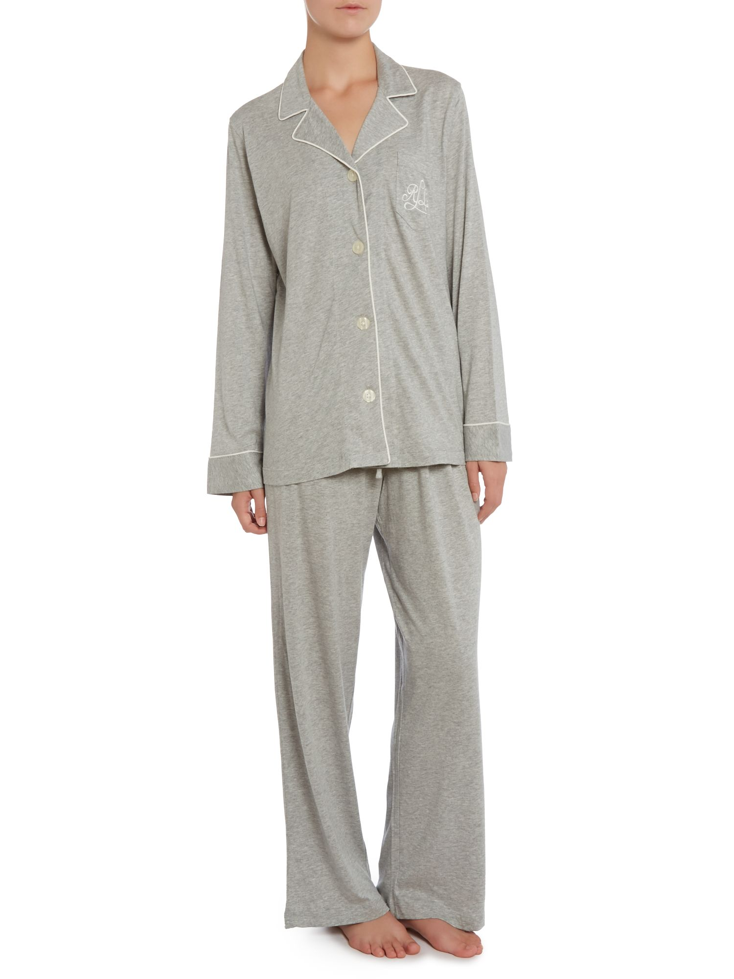 Long sleeved classic notch collar pyjama set