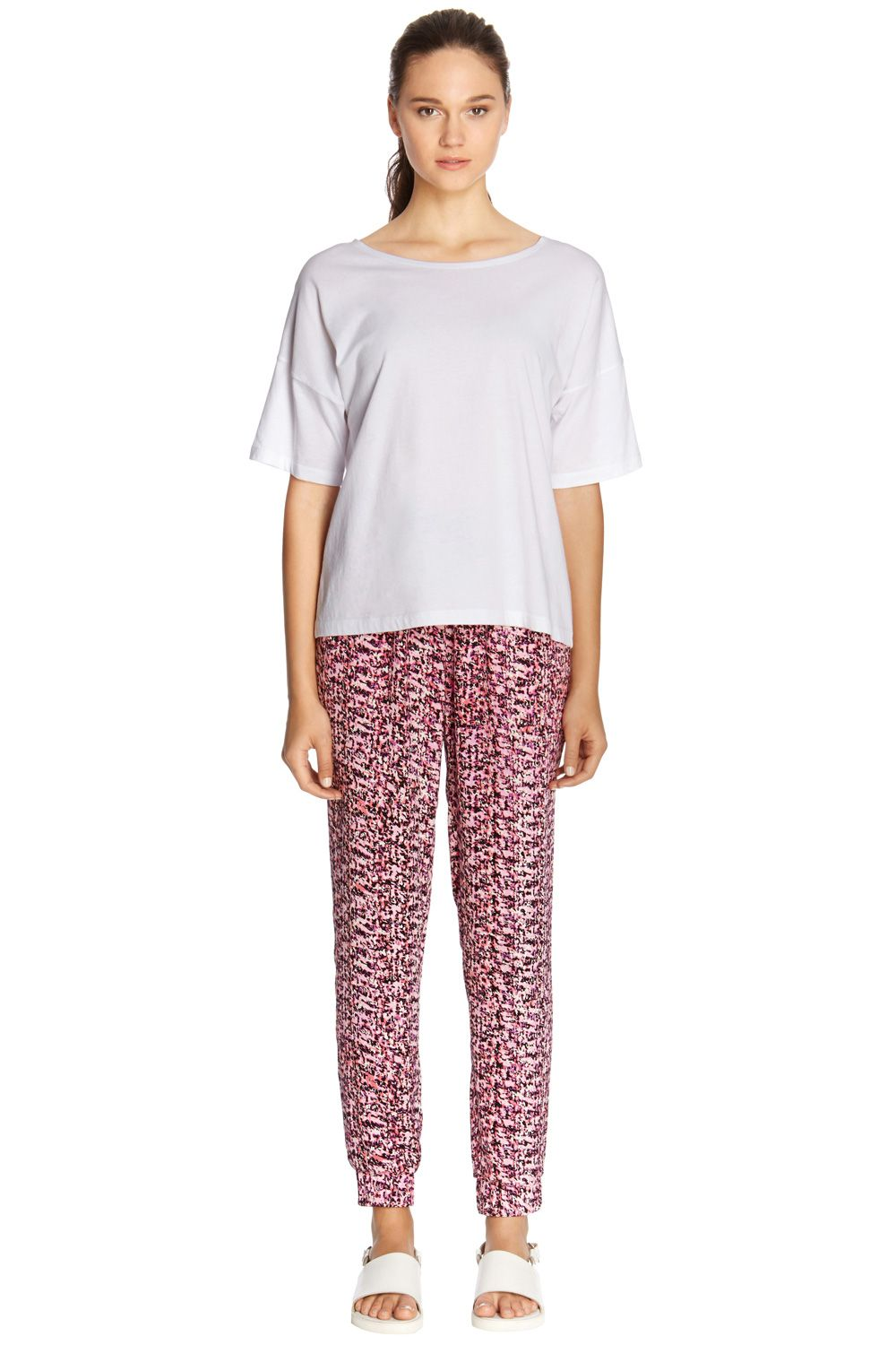 Soft scratchy print trousers