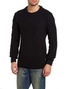 Cable knit crew neck pullover