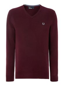 Classic merino tipped v-neck jumper