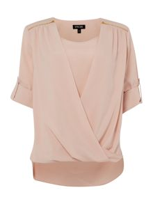 DRAPE FRONT BLOUSE TOP