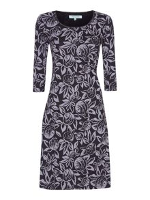 Sally picot rose print dress