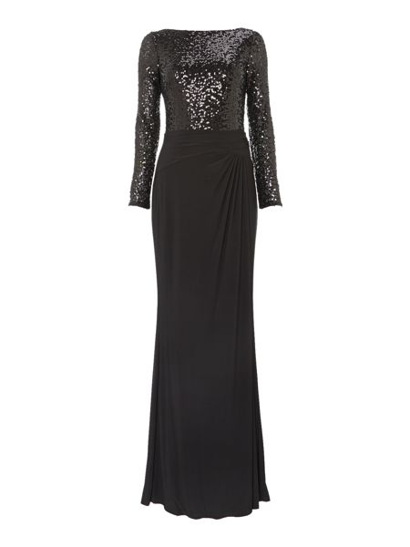 Lauren Ralph Lauren Long sleeve sequin gown