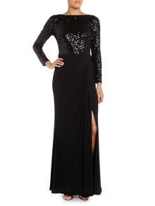 Lauren Ralph Lauren Oleanne long sleeve sequin gown