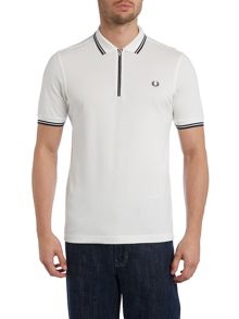 Zip placket pique polo shirt