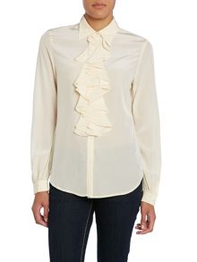Long sleeve ruffle front silk blouse