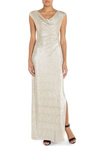 Ionella cap sleeve gown with cowl neck