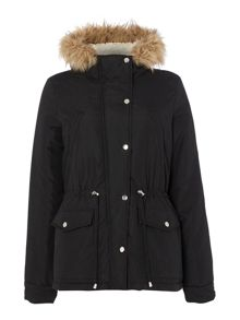 Short padded faux fur trim jacket