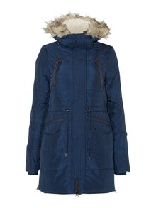 Long padded faux fur trim parka