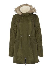Long padded fur trim parka