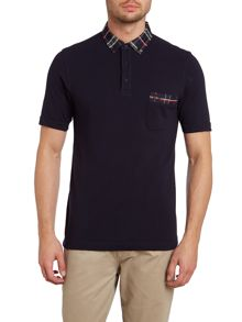 House tartan collar short sleeve polo