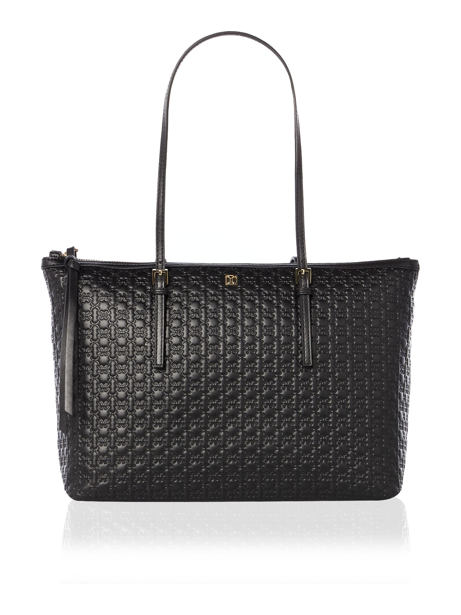 Black zip top tote bag