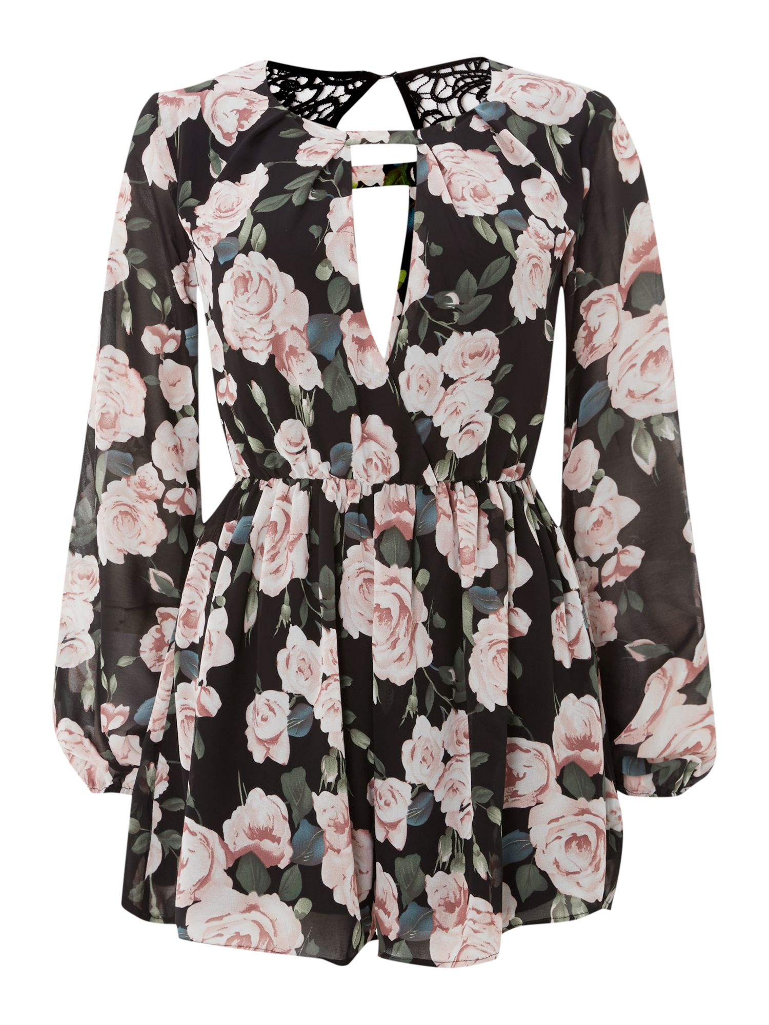 LS Floral Print Crochet Back Playsuit