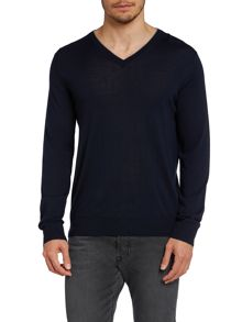 V-Neck Jumper With Logo On Sleeve
