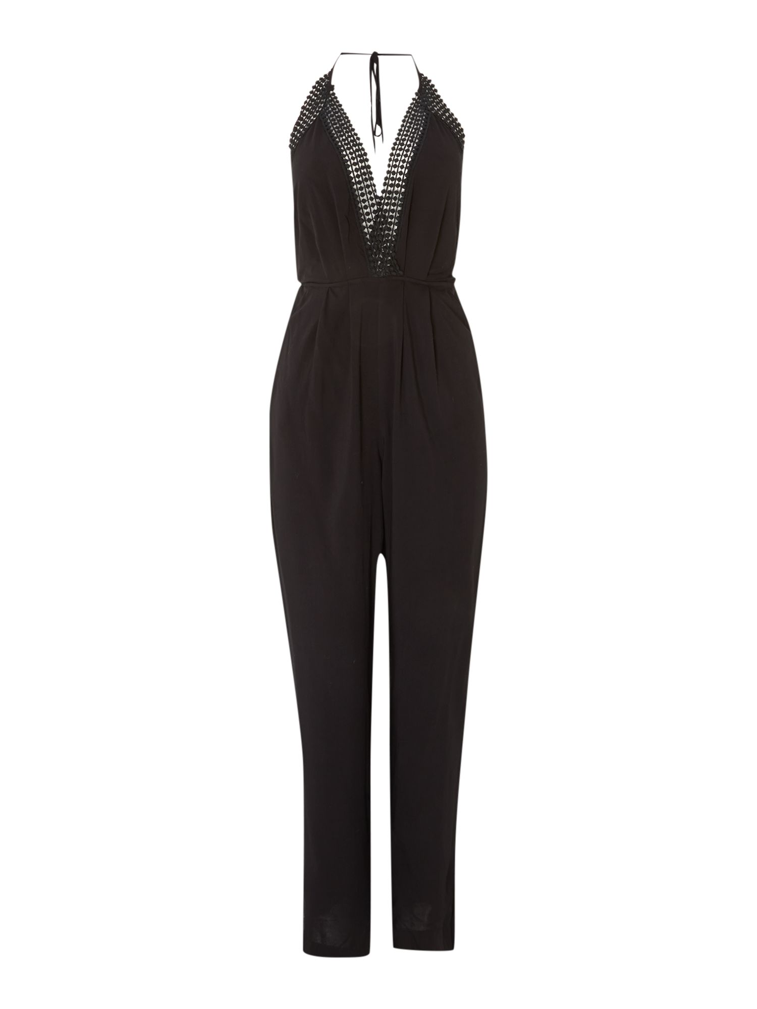 Crochet Front Cross Over Back Jumpsuit