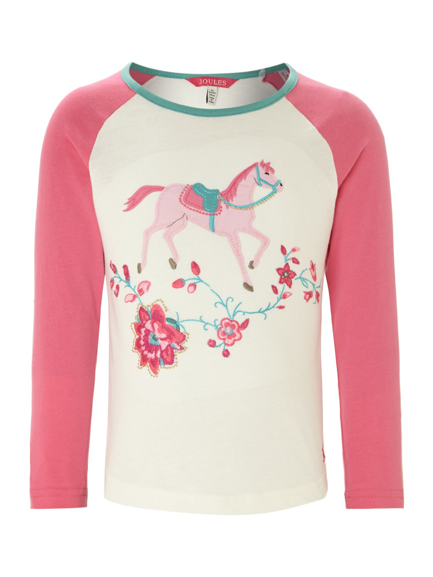 Girls pony applique raglan t-shirt