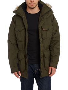 Down ranger parka with furred hood