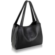 Cavendish black leather large barrel tote bag