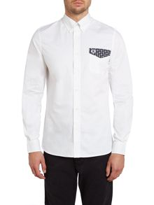 Drakes medallion trim long sleeve shirt