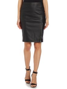 Pu pencil skirt with side zip