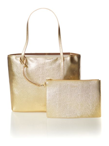 Ted Baker Gold large saffiano tote bag