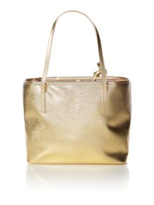 Gold large saffiano tote bag