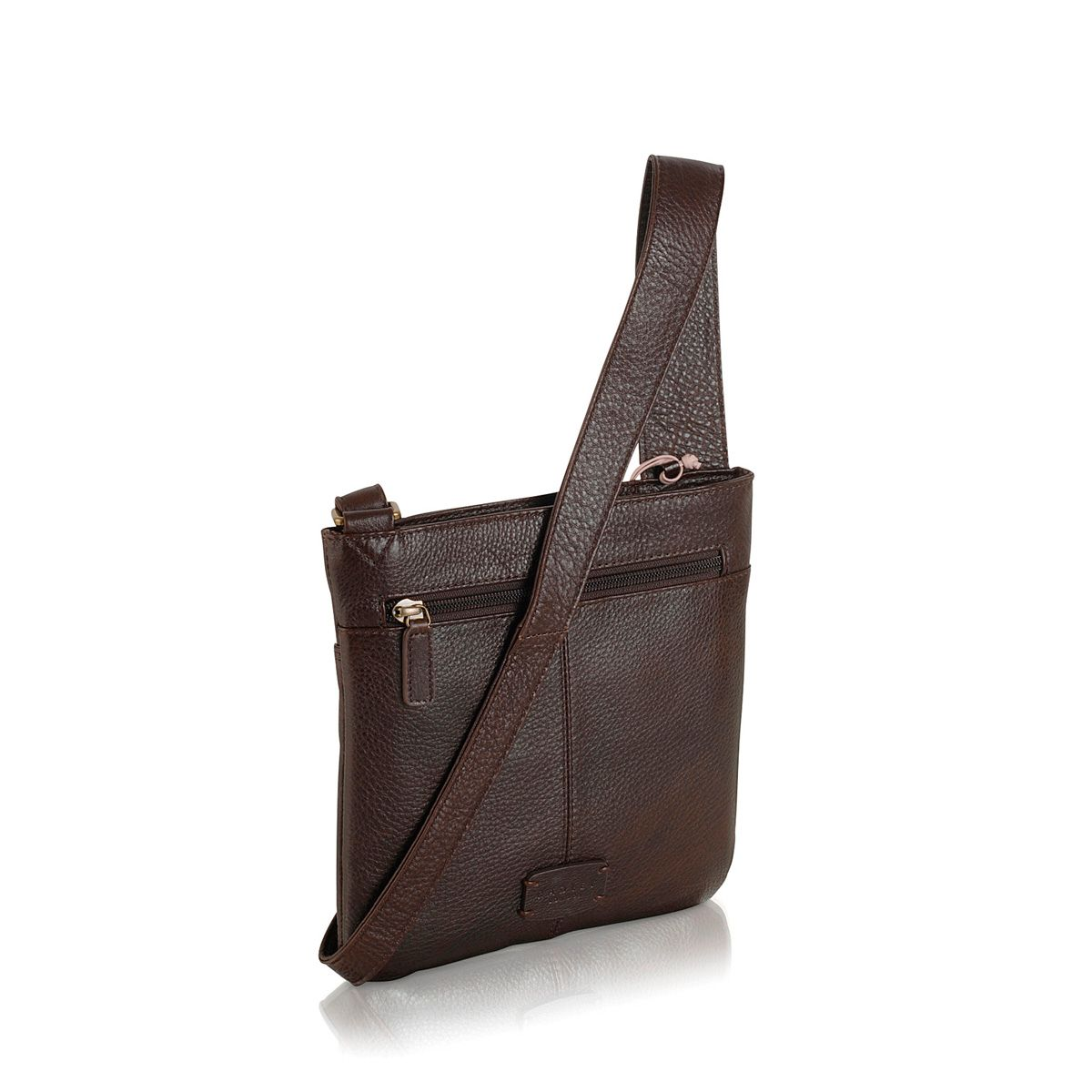 Pocket bag small ziptop xbody leather brown bag